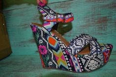 Southern Jewlz Online Store - Tribal Tribute Wedge - Blue, $44.95 (http://www.southernjewlz.com/tribal-tribute-wedge-blue/)