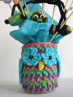 Crochet Owl Cozy Tin Can Mason Jar PDF by ReciprocityCrafts