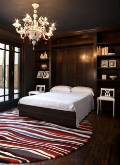 Murphy Bed Design, Pictures, Remodel, Decor and Ideas {Great Guest Room Design} Contemporary Bedroom, Modern Bedroom, Dark Bedrooms, Colonial Bedroom, Bedroom Black, Cama Murphy Ikea, Camas Murphy, Murphy-bett Ikea, Modern Murphy Beds