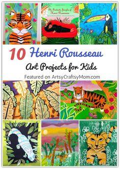 10 Henri Rousseau Art Projects for Kids 2 Art Lessons For Kids, Artists For Kids, Great Artists, Art For Kids, Kid Art, Animal Art Projects, Fall Art Projects, Projects For Kids, Preschool Arts And Crafts