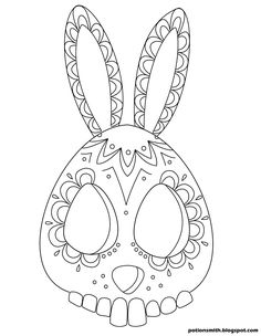 This bunny sugar skull is kind of Easter eggy. POTIONSMITH: Sugar Skull Bunnies http://potionsmith.blogspot.com/2013/03/sugar-skull-bunnies.html