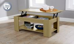 This contemporary lift-top coffee table features mechanical lifting lid for extra height and additional bottom shelf for extra-storage space Lift Up Coffee Table, Coffee Table With Storage, Storage Stool, Storage Shelves, Shelf, Ottoman Storage, Extra Storage Space, Storage Spaces, Center Table