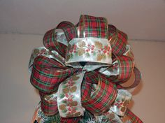 Large Christmas tree topper bow with white by creativelycarole, $30.00