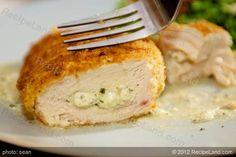 Recipe+Chicken+Cream+of+Chicken | Stuffed chicken breasts with ooey gooey cream cheese and basil pesto ...