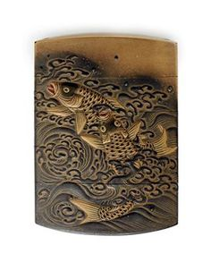 A Four-Case Inro   Signed Toshi Kin Egaku, Edo Period (19th century)   Decorated in iroe-hiramaki-e and takamaki-e on a fundame ground with carp