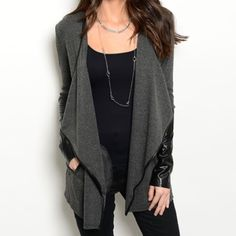 Charcoal cardigan with faux leather accents Black and charcoal open style cardigan with faux leather accents. Faux leather on the sleeves and around the edge of the neckline and down the front, small faux leather gather in the back. Thin cardigan. Brand new with tags. S-M-L available, measurements available. Please ask me to make you a separate listing. DO NOT PURCHASE THIS LISTING. Sweaters Cardigans