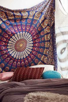 Magical Thinking Blue Floral Medallion Tapestry