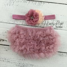 Vintage Pink dusty rose ruffle bottom bloomers diaper cover, peach flower rhinestone pearl headband, newborn infant toddler baby girl photo by HoneyLoveBoutique on Etsy