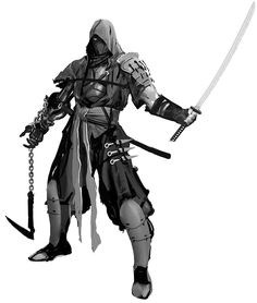 View an image titled 'Ninja Art' in our Yaiba: Ninja Gaiden Z art gallery featuring official character designs, concept art, and promo pictures. Fantasy Character Design, Character Concept, Character Inspiration, Character Art, Fantasy Armor, Medieval Fantasy, Dnd Characters, Fantasy Characters, Ninja Kunst