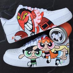 llllllllove the power puff girls reminds me of my childhood Custom Vans Shoes, Custom Painted Shoes, Custom Sneakers, Nike Custom, Painted Vans, Sneakers Mode, Sneakers Fashion, High Top Sneakers, Fashion Outfits