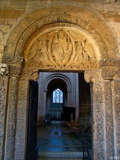 Romanesque details around a door that still survive from the Norman Period, in Ely, England.  More from Ely Cathedral at http://fallintoyesterday.com/2013-11-gb-4.html