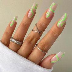 Purple Acrylic Nails, Square Acrylic Nails, Summer Acrylic Nails, Neon Green Nails, Colourful Nails, Neon Nails, Green Nail Designs, Fun Nail Designs, Acrylic Nail Designs