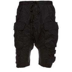 Shorts ($693) ❤ liked on Polyvore featuring men's fashion, men's clothing, men's shorts, nero, mens elastic waist shorts, mens elastic waist cotton shorts and mens cotton shorts
