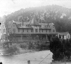 Canon City, Colorado - Hot Springs Hotel (RMT standing in center of bridge) :: Western History, 1895, 1890 - 1990