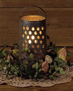 Rustic Cheese grater accent light ...or use as a candle light diffuser... lots of possibilities