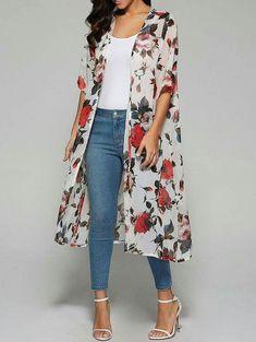 Rose Print Chiffon Kimono White (Rose Print Chiffon Kimono White) by www. Kimono Outfit, Kimono Fashion, Fashion Dresses, Kimono Cardigan, Kimono Top, Floral Cardigan, Kimono Style, Chiffon Kimono, Print Chiffon