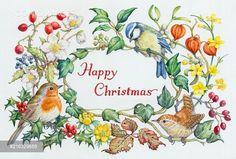 Yooniq images - Robin, Blue Tit, Wren, ivy, Christmas roses etc Merry Christmas Gif, Christmas Vases, Christmas Art, Christmas Greetings, Vintage Christmas, Christmas Holidays, Flower Frame, Flower Art, Easter Art