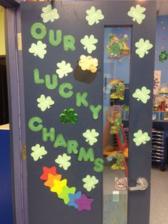 """St. Patrick's day door idea """"What makes you lucky?"""" """"What gives you luck?"""" """"How are you lucky?"""""""