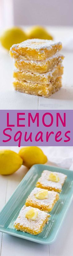 Sweet and tart homemade lemon squares with a shortbread crust! Light and crisp cookie base topped with ooey gooey lemon filling!
