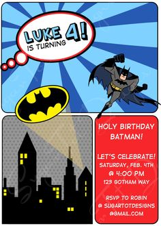 Batman Birthday Invitation, Retro Batman Birthday Invitation, Superhero Birthday Invitation, Batman Thank You Cards - Printable. $18.00, via Etsy.