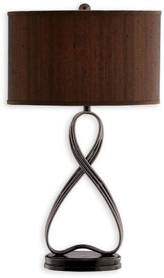 Metal table lamp with triple-strand lazy 8 design. Product: Table lamp Construction Material: Metal and fabric Color: Brown Features: switch Accommodates: 100 Watt medium base incandescent bulb - not included Dimensions: H x Diameter Furniture Styles, Accent Furniture, Lane Furniture, Furniture Decor, Infinity Table, Painted Chest, Hand Painted, Metal Table Lamps, Elk Lighting
