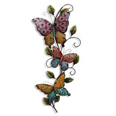 Price: $69.25 StyleCraft Home Collection WI41127DS Metal Wall Plaque - Large and beautifully designed trio of colorful butterflies on a branch grace this metal wall sculpture.  Embossed raised detail on butterflies wings and leaves bring this wall piece to life. Features hand finished colors with glitter accents.  Graceful curving lines and stunning colors make this wall plaque something special! Convenient hanging hooks attached.