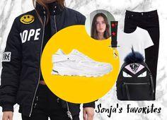 Back to Basics: Auf Sonjas Wunschliste finden sich heute Sneaker von adidas by Raf Simons, Acne oder Givenchy. Ein schlichtes Outfit, das trotzdem knallt.