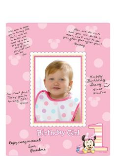 1st Birthday Minne Mouse Autograph Photo Mat 10 3/5in x 14in - Party City
