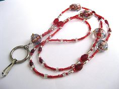 Beaded lanyard, red, ID, key, badge or eyeglass holder, lampwork beads, holiday reds, petite size
