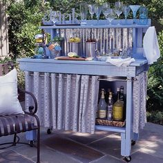 Love the potting bench to outdoor bar idea...