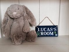 Llittle boys room plaque. Dark blue with green and white stars. £10.00