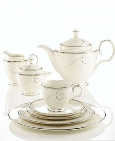 """Friday night book club ladies will love your sophisticated tea-ware, even if you are reading """"The Confessions of a Shopaholic"""". Dinnerware Sets, China Dinnerware, Formal Dining Tables, Dining Ware, Cafetiere, Teapots And Cups, China Sets, Dinner Sets, Noritake"""