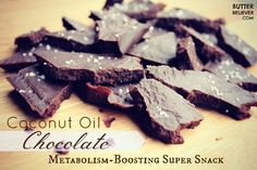 Homemade dark chocolate, made with coconut oil! Boosts your metabolism.