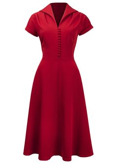 1940s Weekender Dress - takes inspiration from the late 1940s styles. This dress hails the New Look with its fuller skirt (though still not as full as the 50s) and details such as its raised collar and 10 individual hand stitched buttons down to the waist.