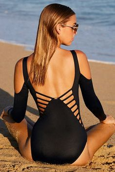 Long sleeve strappy one-piece swimsuit from Boston Proper