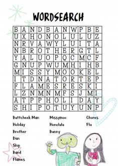 Here's a little wordsearch just for you. Download and print, it's such fun to do! Fun Educational Games, Word Search, Just For You, Activities, Books, Kids, Young Children, Libros, Boys