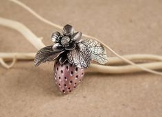 polymer clay strawberry brooch silver wax by Joyloveclay on Etsy #brooch bouquet  flower brooch