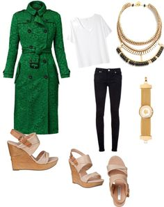 """""""Emerald Coat"""" by jessicatate on Polyvore"""
