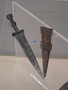 Pugio dagger Carried by legionaires in addition to a gladius, worn at the left hip. The grooves and ridges gave added strength to the blade and was used added as an utility tool or a weapon of last resort