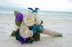 Beautiful bouquet made by the Bride!  Photo by Sunset Beach Weddings