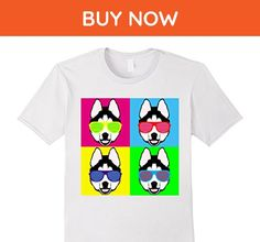 Mens Siberian Husky Sunglasses Neon Party Dog Shirt Large White - Animal shirts (*Amazon Partner-Link)