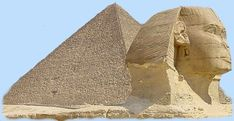 Sphinx with pyramid background