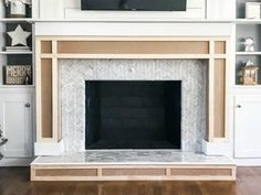 Learn how easy it is to build a simple fireplace surround and mantel from MDF to beef up an existing brick fireplace. Fireplace Surround Diy, Diy Fireplace Mantel, Build A Fireplace, Simple Fireplace, Fireplace Surrounds, Brick Fireplace, Fireplace Makeovers, Paint Fireplace, Fireplace Design