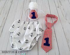 Boys Anchors Birthday Diaper Set Nautical Cake Smash Outfit