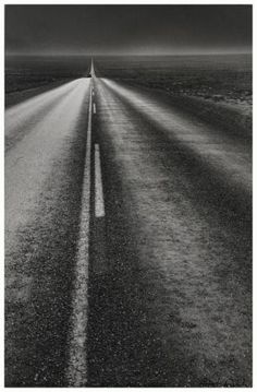 """by Robert Frank U. New Mexico, From """"The Americans"""". """"Long shot of night road arrowing forlorn into immensities and flat of impossible-to-believe America in New Mexico under the prisoner's moon. The Americans, New Mexico, Photomontage, Robert Frank Photography, Stephen Shore, Into The West, Foto Real, Winding Road, All Nature"""