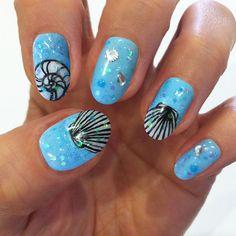 nail art 2014 Nails And Polishes trends 2014 Pedicure Nail Designs, Beach Nail Designs, Gel Nail Art Designs, Beach Nail Art, Beach Nails, Beach Themed Nails, Seashell Nails, Nail Art 2014, Summer Gel Nails