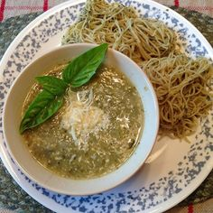 This is the Barefoot Contessa's Zucchini and Basil soup recipe.  Really really good.  Made it with home grown basil and zucs.  Paired it up with Pesto spaghetti for a very green meal :)  Here's the recipe I used. I can't find it on Ina's site.   http://whatsmargotmaking.blogspot.com/2014/11/zucchini-basil-soup-via-ina-garten.html