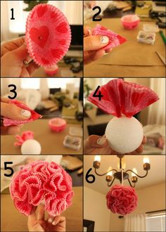 Cupcake Liner Pom Poms You'll need:  -Hot Glue Gun -Cupcake Liners (at least 100) -Sewing pins -Styrofoam ball