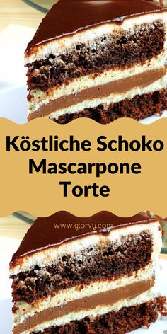 Köstliche Schoko-Mascarpone-Torte Brownie Bar, Nutella, Tart, Nom Nom, Cake Recipes, Deserts, Food And Drink, Sweets, Baking