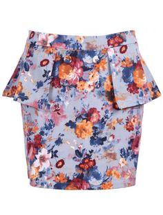 Blue Floral Ruffles Buttons Bodycon Skirt #SheInside